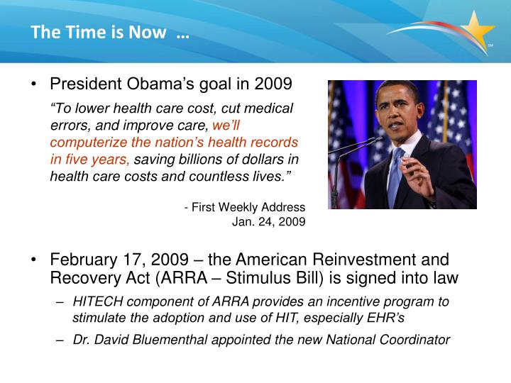 """""""To lower health care cost, cut medical errors, and improve care,"""