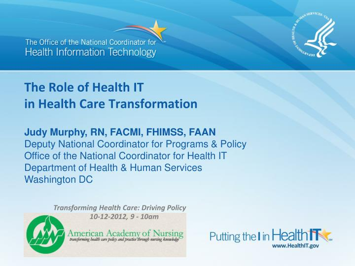The Role of Health IT