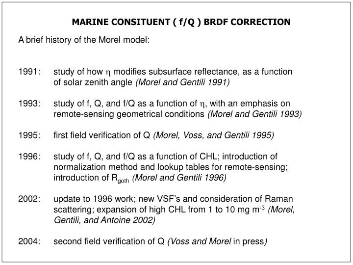 MARINE CONSITUENT ( f/Q ) BRDF CORRECTION
