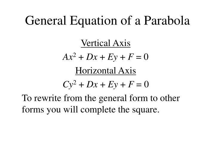 General Equation of a Parabola
