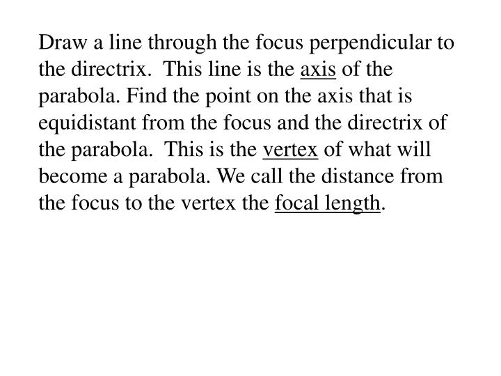 Draw a line through the focus perpendicular to the directrix.  This line is