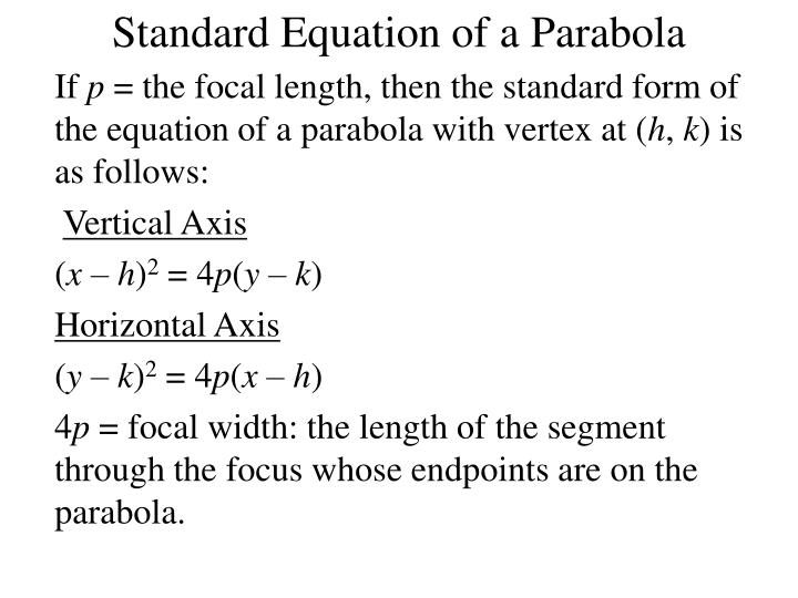 Standard Equation of a