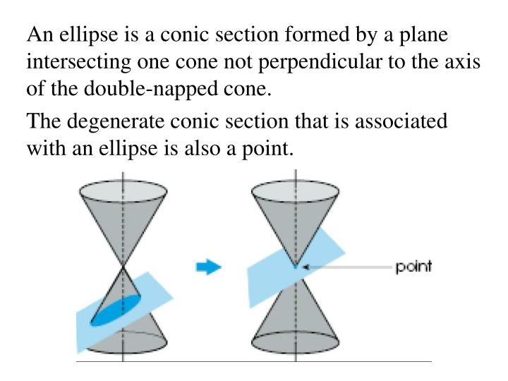 An ellipse is a conic section formed by a plane intersecting one cone not perpendicular to the axis of the double-napped cone.