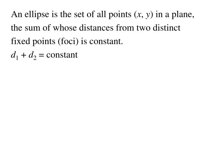 An ellipse is the set of all points (