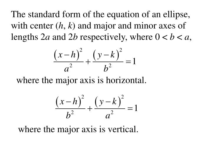 The standard form of the equation of an ellipse, with center (