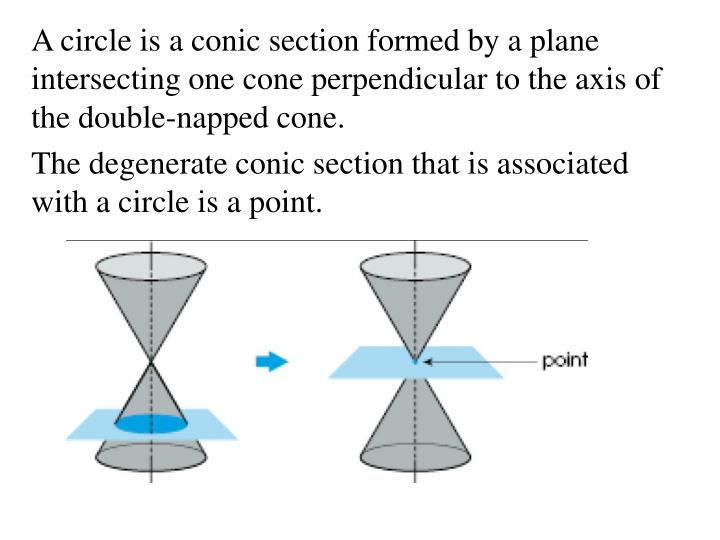 A circle is a conic section formed by a plane intersecting one cone perpendicular to the axis of the...