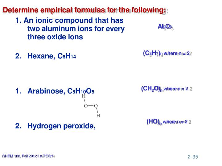 Determine empirical formulas for the following:
