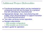 additional project deliverables