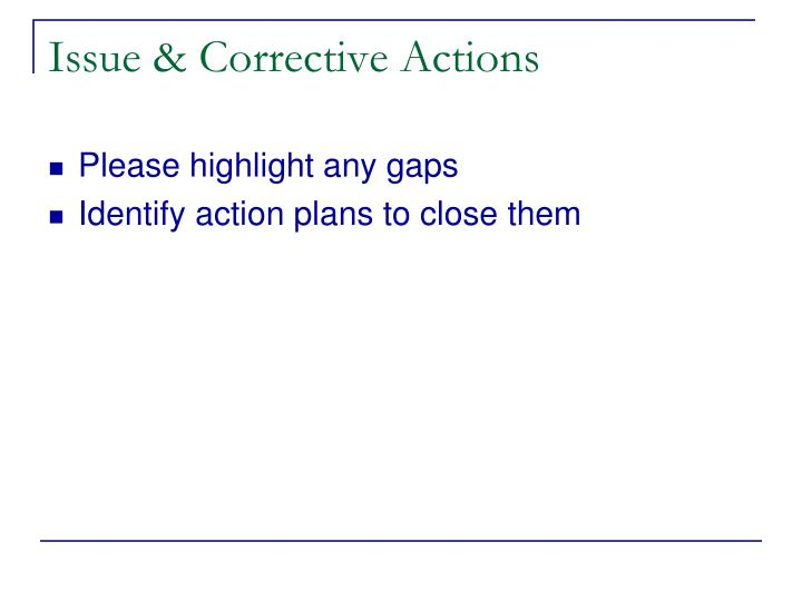 Issue & Corrective Actions