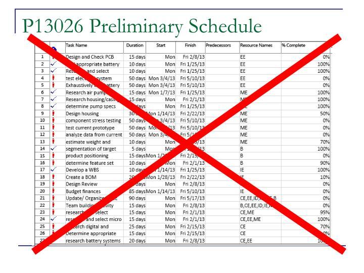 P13026 Preliminary Schedule