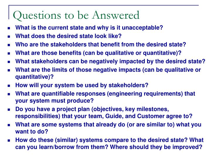 Questions to be A