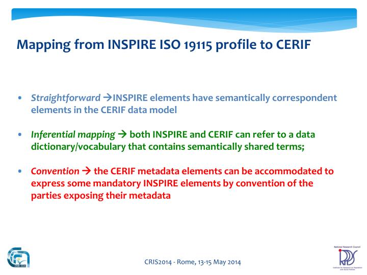 Mapping from INSPIRE ISO 19115 profile to CERIF