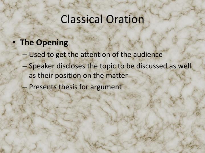 Classical Oration