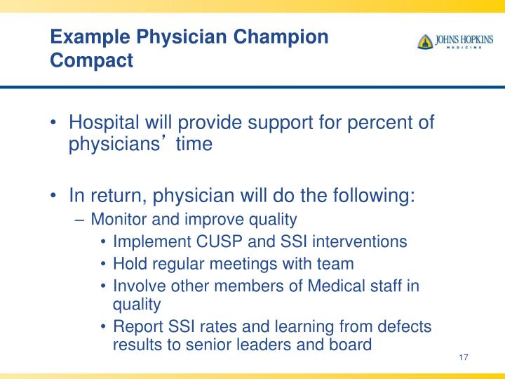 Example Physician Champion Compact