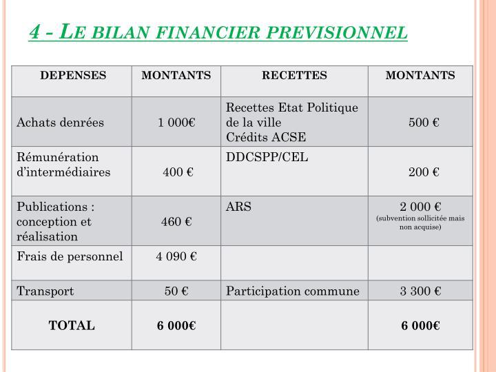 4 - Le bilan financier