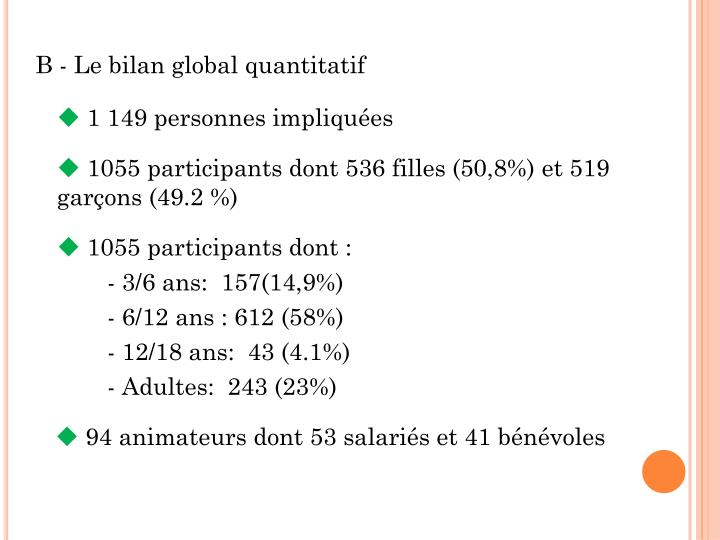 B - Le bilan global quantitatif