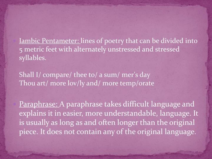 Iambic Pentameter: