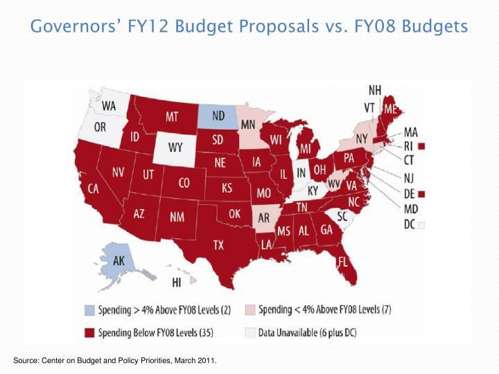 Governors' FY12 Budget Proposals vs. FY08 Budgets