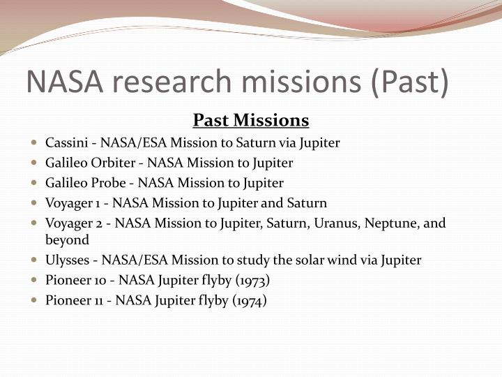 NASA research missions (Past)