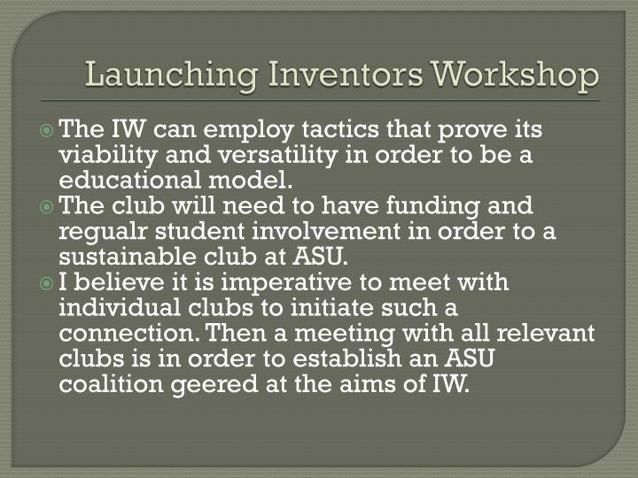 Launching Inventors Workshop