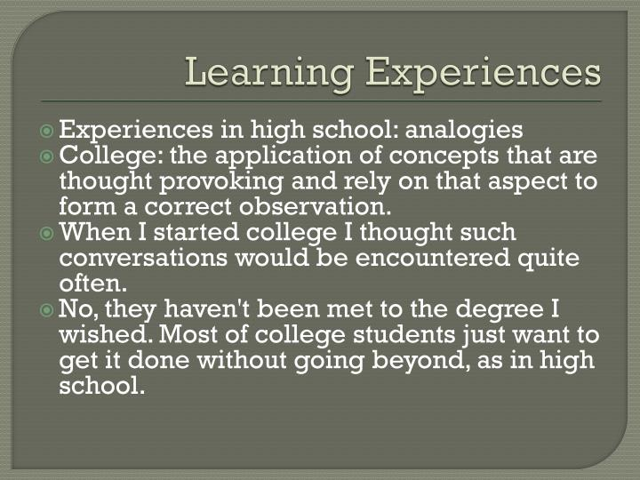 Learning Experiences