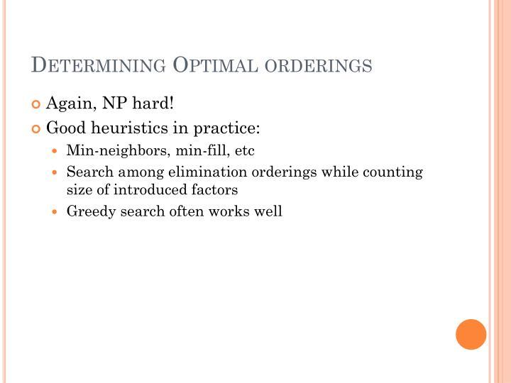 Determining Optimal orderings