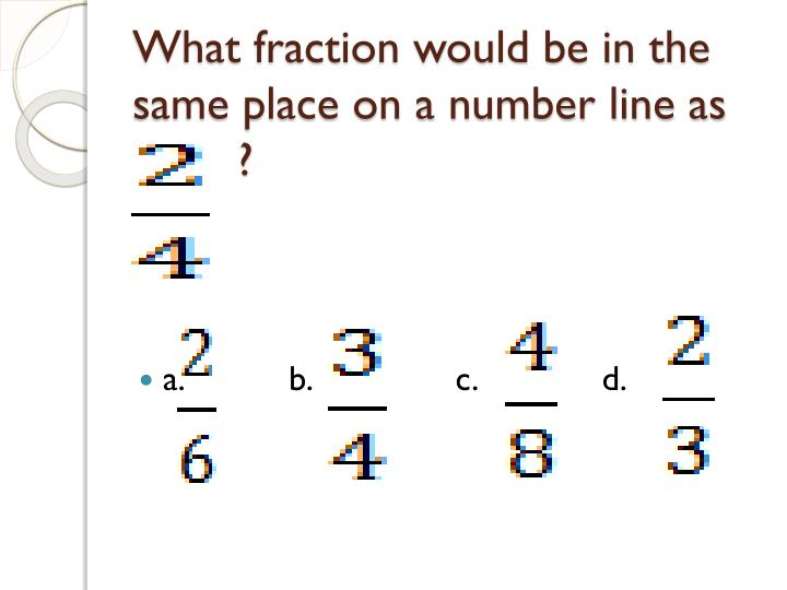 What fraction would be in the same place on a number line as