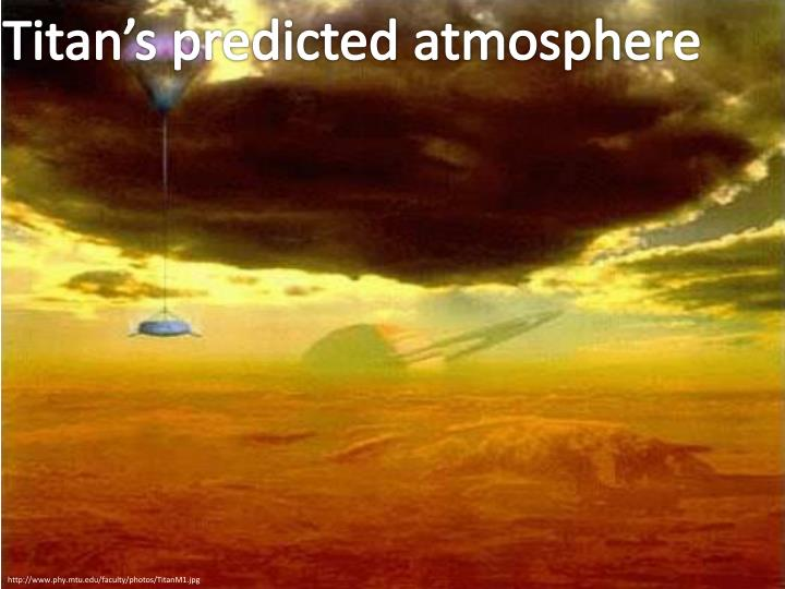 Titan's predicted atmosphere