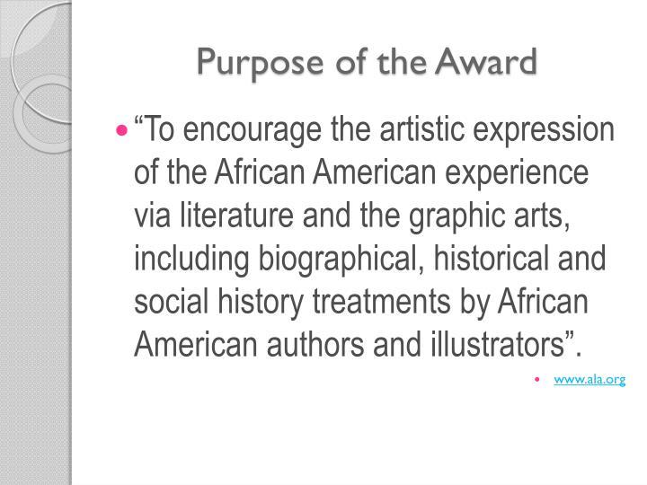 Purpose of the Award