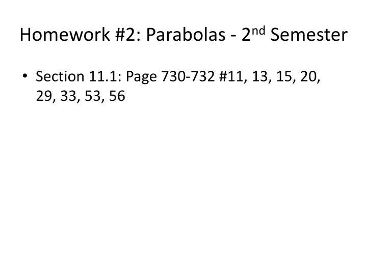 Homework #2: Parabolas - 2