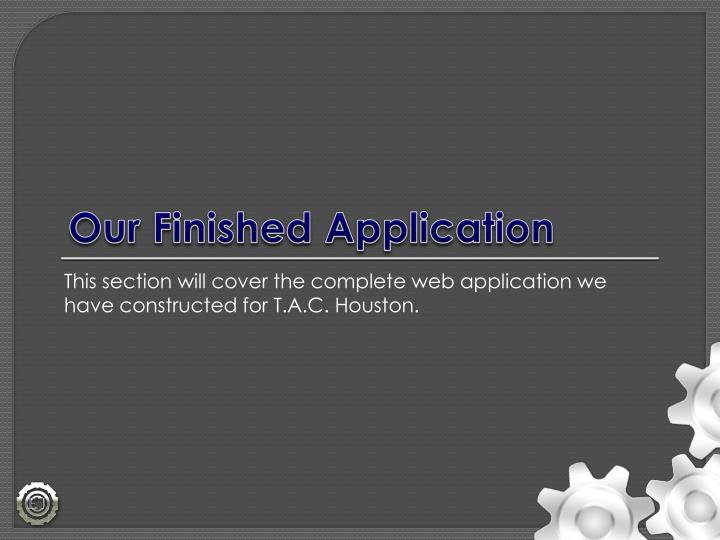Our Finished Application