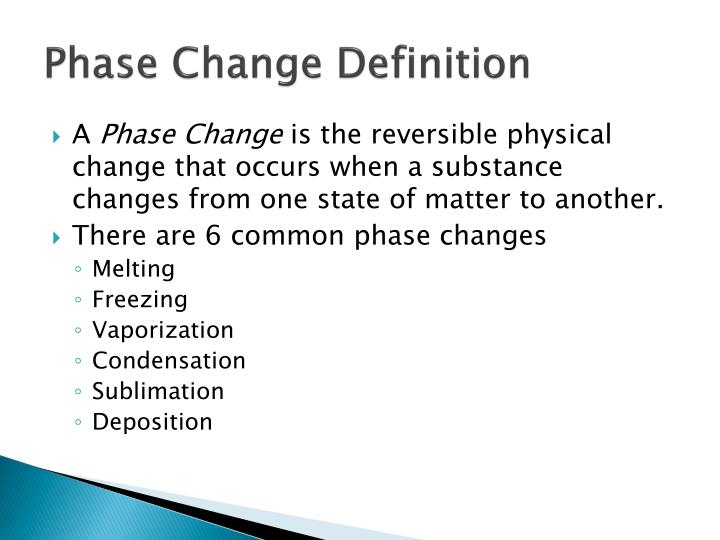 Phase Change Definition
