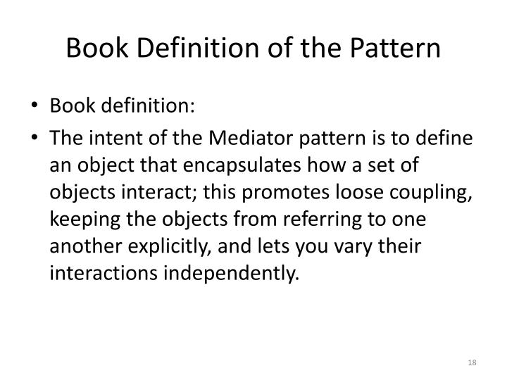 Book Definition of the Pattern