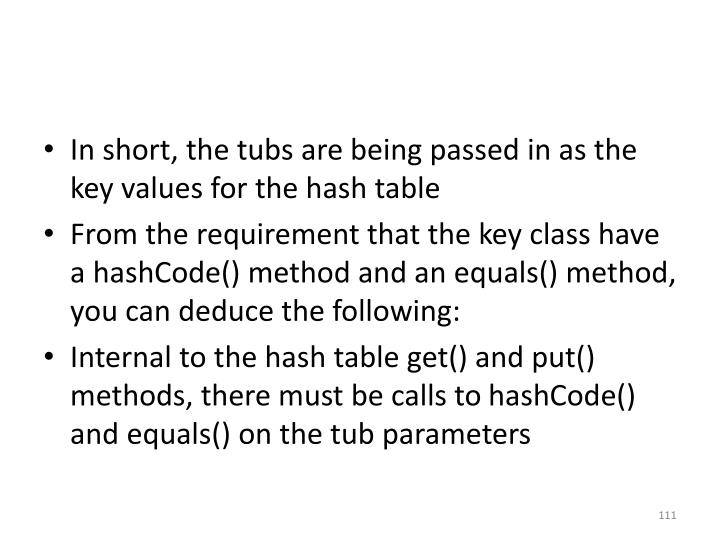 In short, the tubs are being passed in as the key values for the hash table