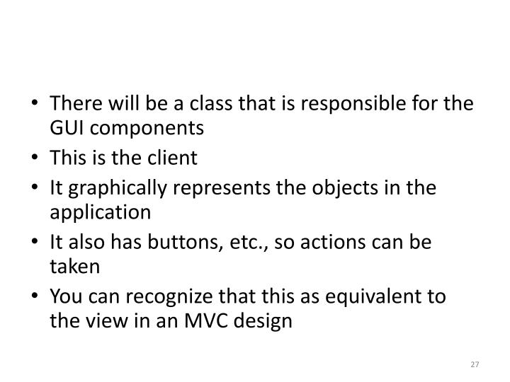 There will be a class that is responsible for the GUI components