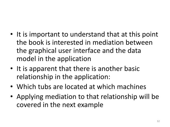 It is important to understand that at this point the book is interested in mediation between the graphical user interface and the data model in the application
