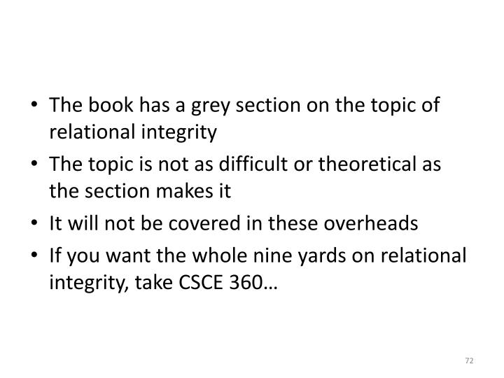 The book has a grey section on the topic of relational integrity