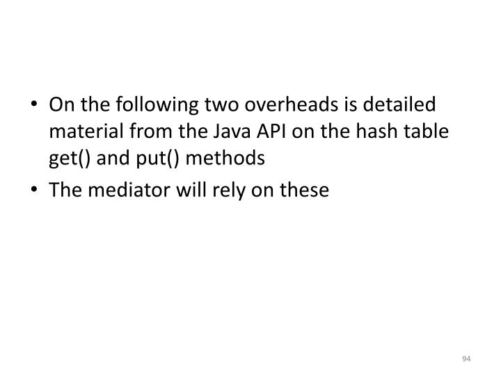 On the following two overheads is detailed material from the Java API on the hash table get() and put() methods