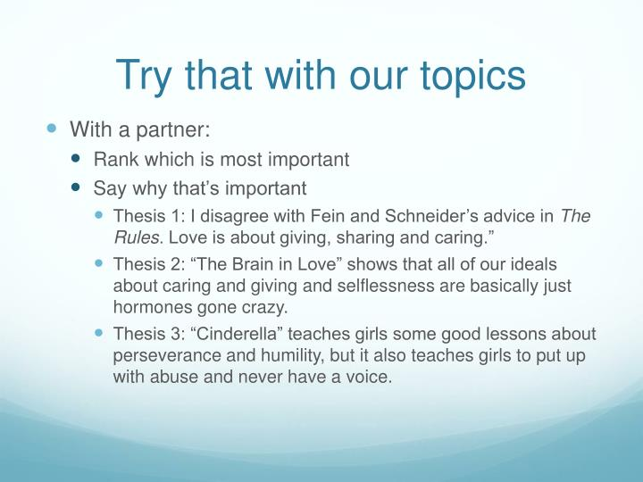 Try that with our topics