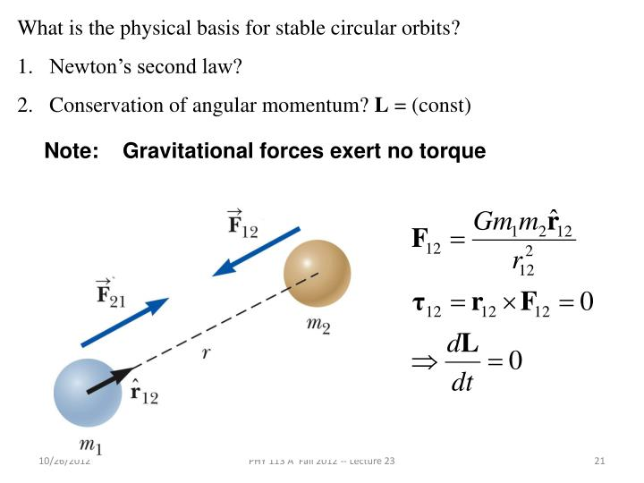 What is the physical basis for stable circular orbits?