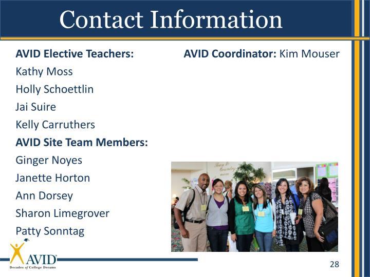 AVID Elective Teachers: