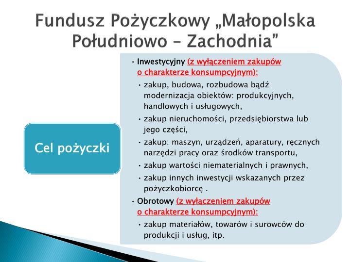"""Fundusz Pożyczkowy """"Małopolska"""