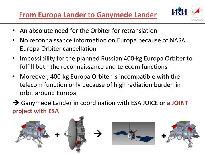 From Europa Lander to Ganymede Lander