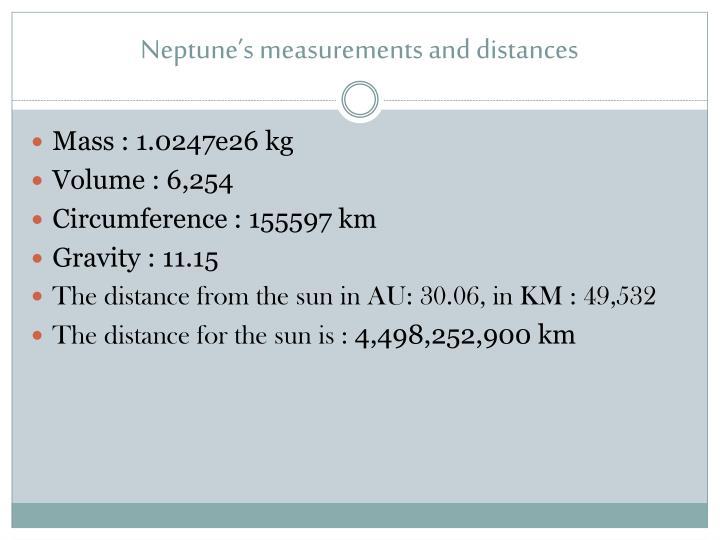 Neptune's measurements and distances
