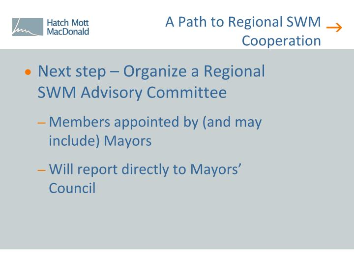 A Path to Regional SWM Cooperation