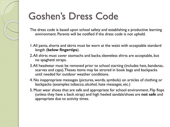 Goshen's Dress Code