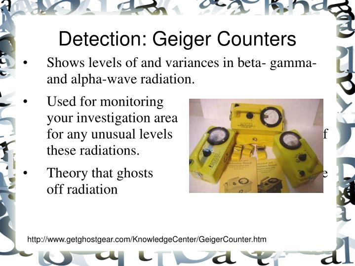 Detection: Geiger Counters