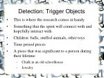 detection trigger objects
