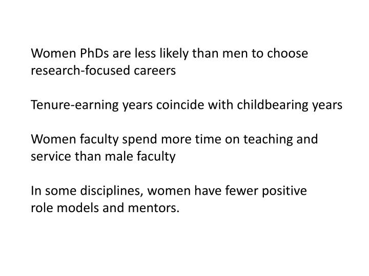 Women PhDs are less likely than men to choose