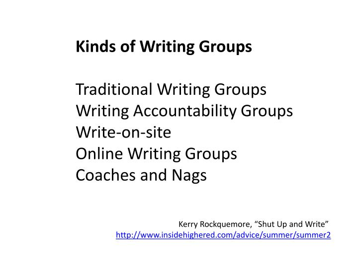 Kinds of Writing Groups